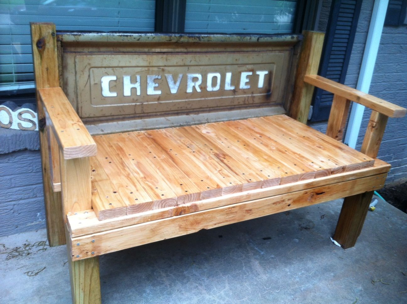 Amazing Bench Made With Pressure Treated Wood From A 63 Chevy Spiritservingveterans Wood Chair Design Ideas Spiritservingveteransorg