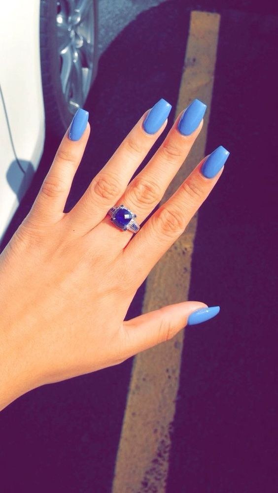 44 Coffin Acrylic Summer Nail Designs 2019 Blue Nails Acrylic Nail Designs Pretty Nails