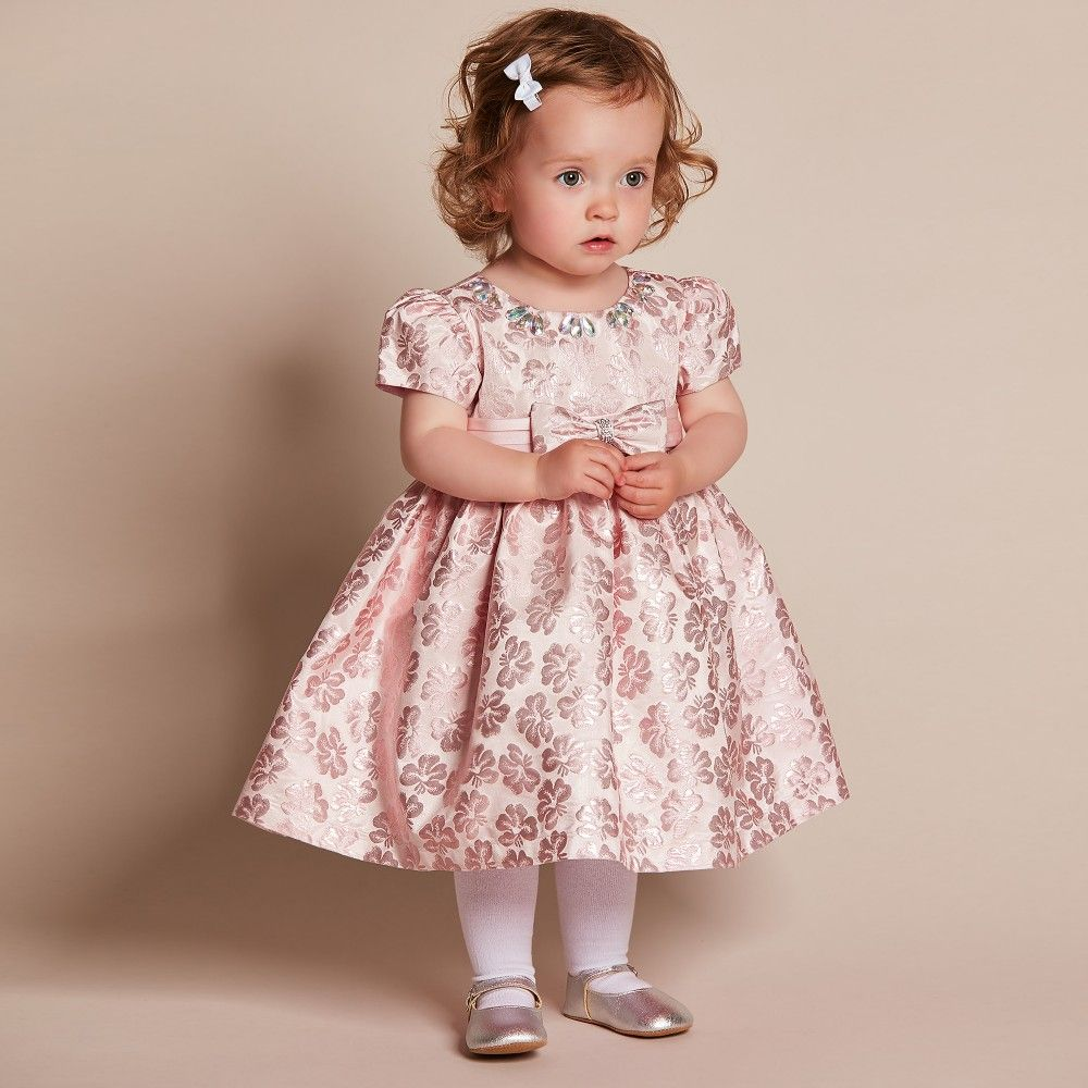 7dfba96bad4c Baby Girls Pink Brocade Dress with Diamanté