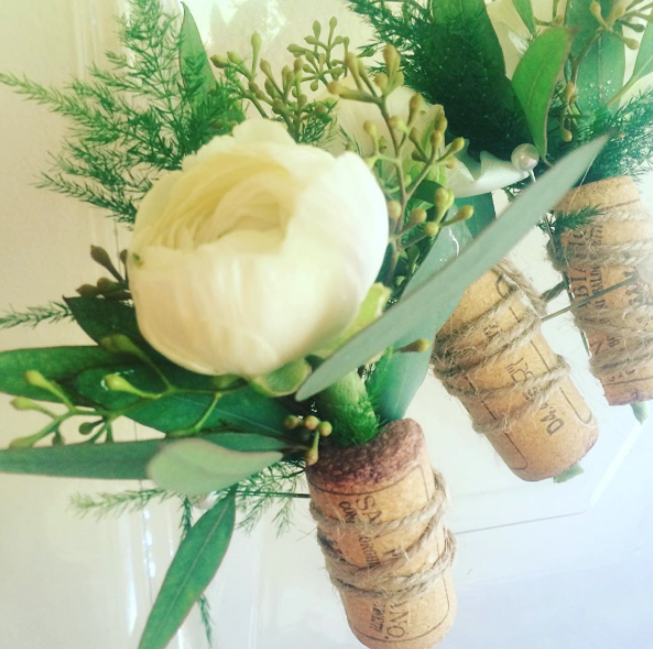 Wedding Cork Boutonniere: Ranunculus And Wine Cork Boutonniere For A Rustic Wine