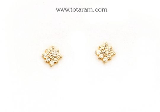 Diamond Earrings for Baby in 18K Gold Totaram Jewelers Buy Indian