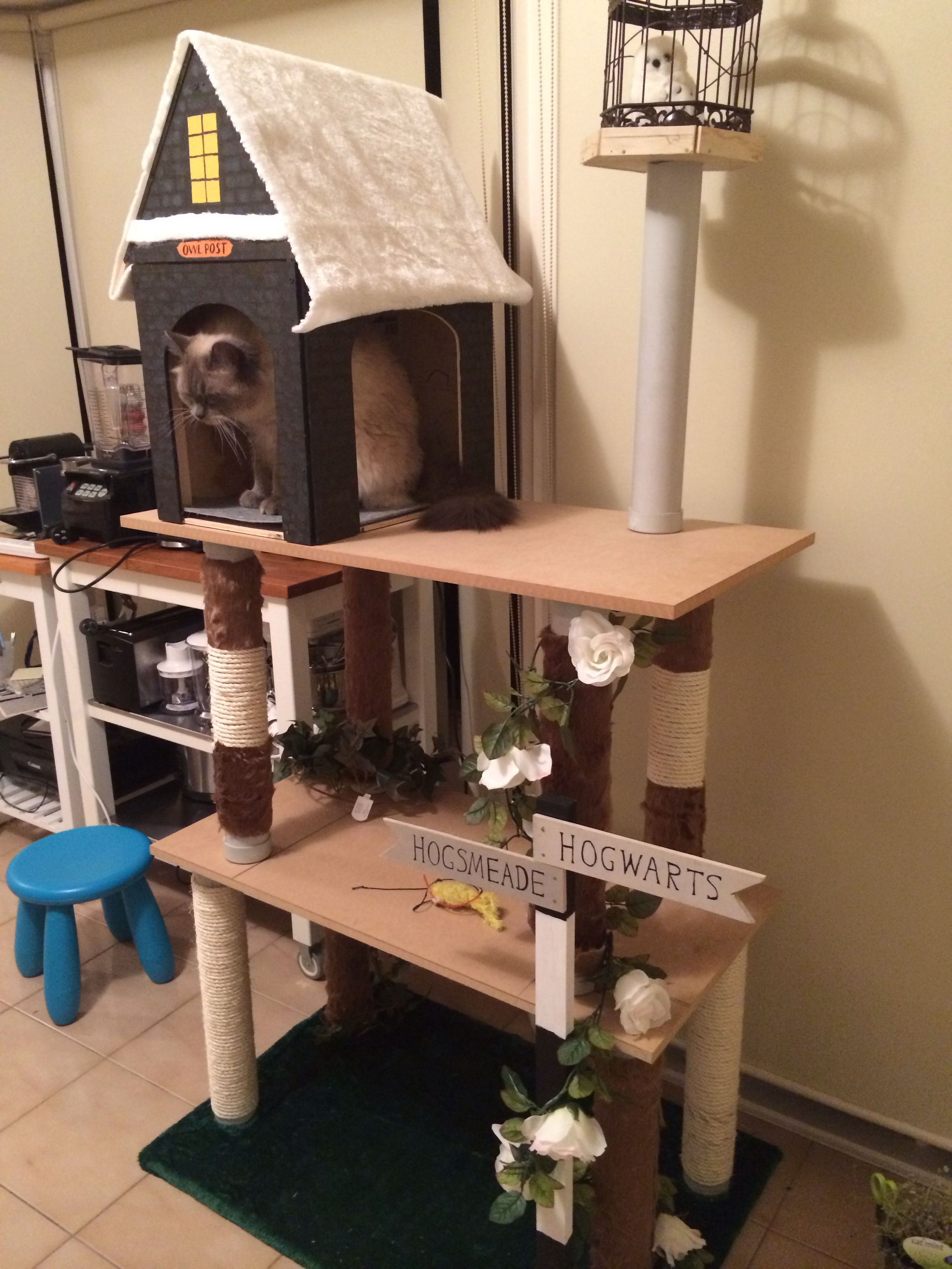 Diy harry potter cat tree. All levels together Harry
