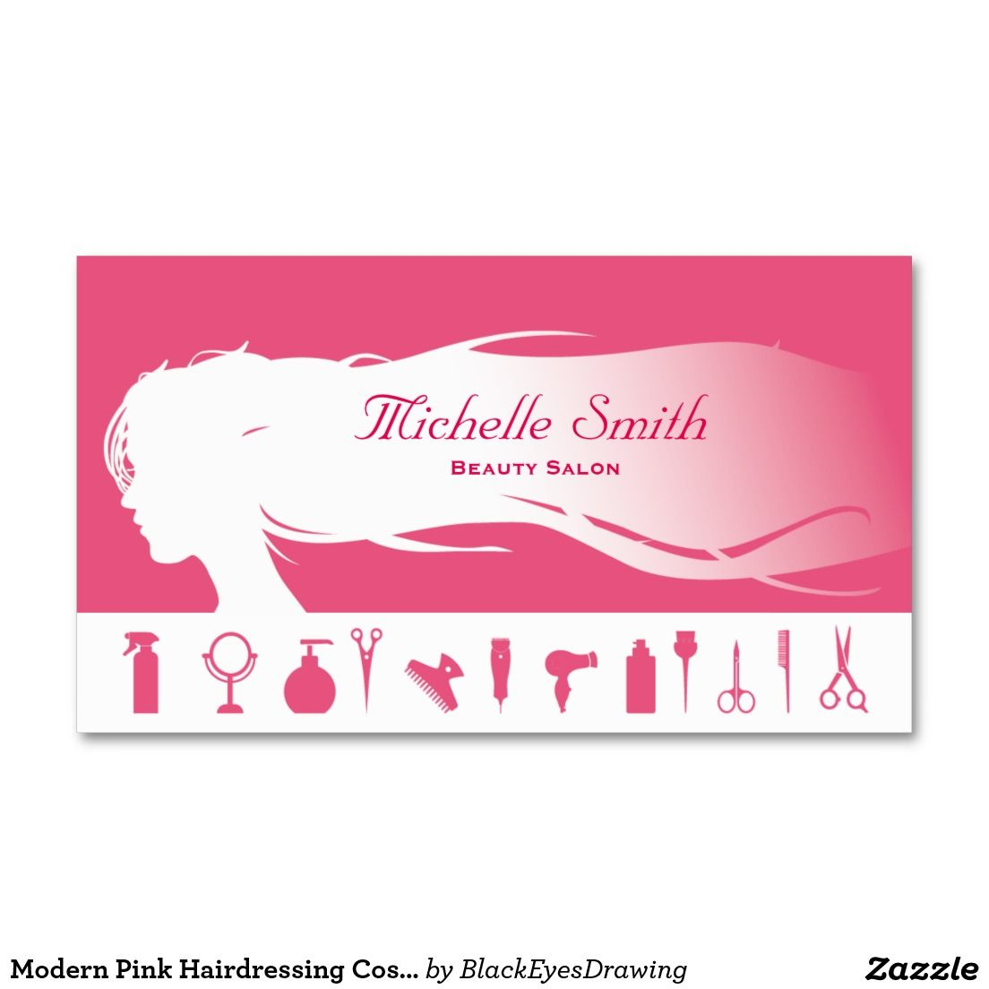 Modern Pink Hairdressing Cosmetics Beauty Salon Business Card ...