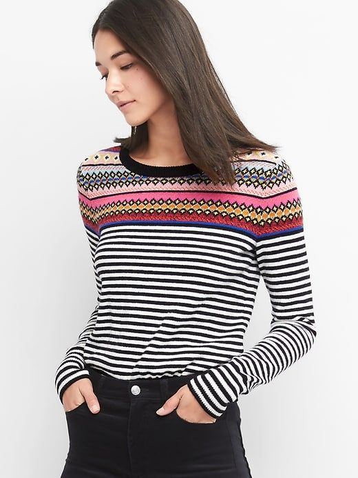 Gap Womens Fair Isle Stripe Crewneck Sweater Crazy Fairisle ...