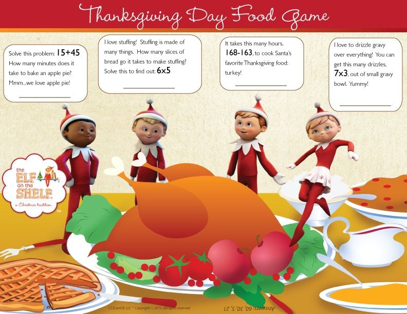 We have Thanksgiving on our mind at the North Pole! Join us and play in this FUN Thanksgiving ...