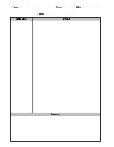 High Quality Cornell Notes Graphic Organizer.