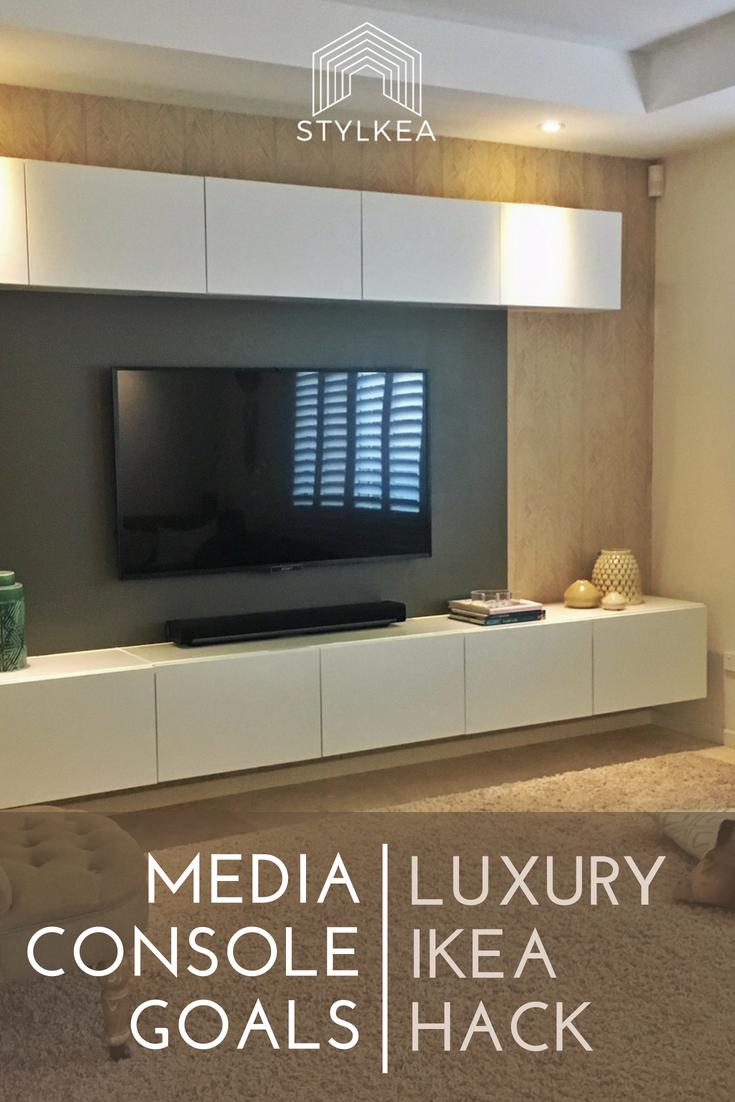 Building A Backlit Media Console Using Ikea Besta Lux Hax Ikea Hack Living Room Ikea Tv Wall Unit Media Console