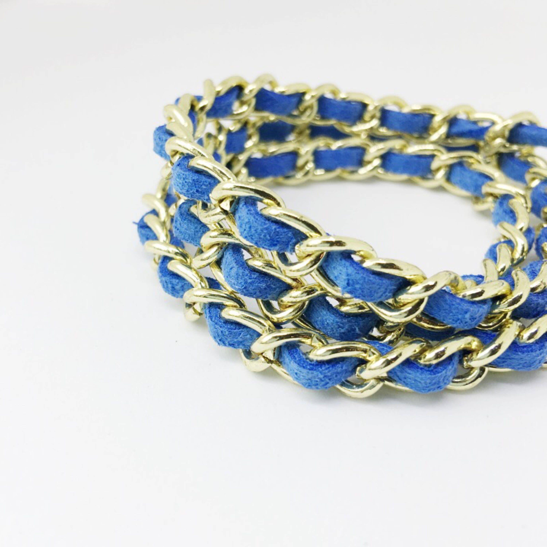 Senegence Wrap Bracelet Lipsence Jewelry Royal Blue And Gold Chain