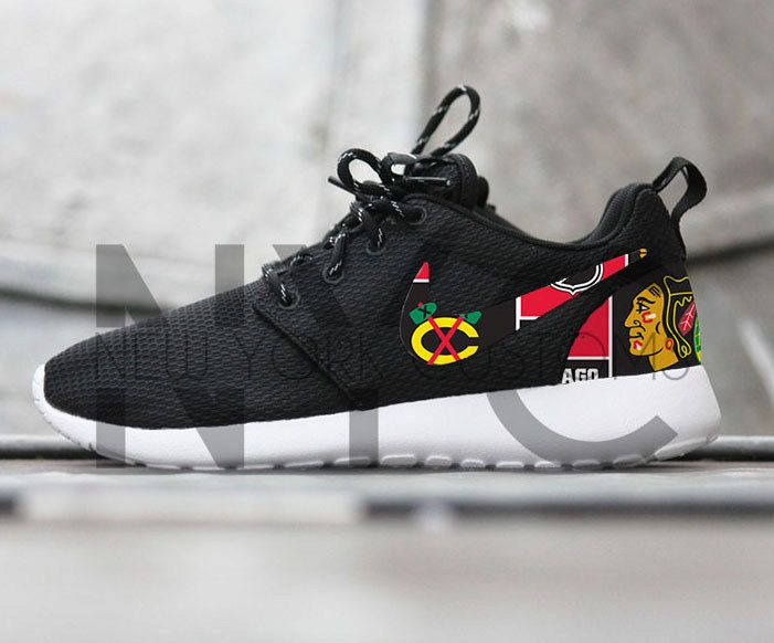 Chicago Blackhawks Hockey Nike Roshe Run Black Custom