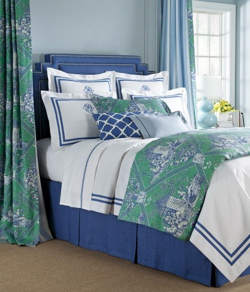 Bedroom Decorating Ideas Totally Toile: Bedding With Turkish Toile In Laurel Colorway.