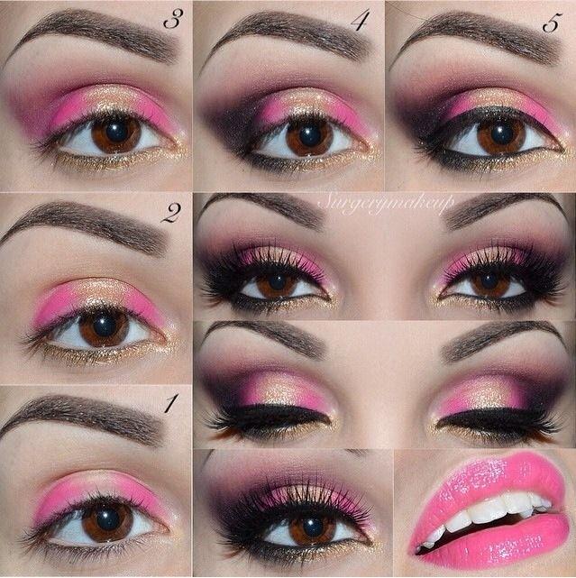 Easy Step By Step Pink N Gold Eye Makeup Tutorial in 2020