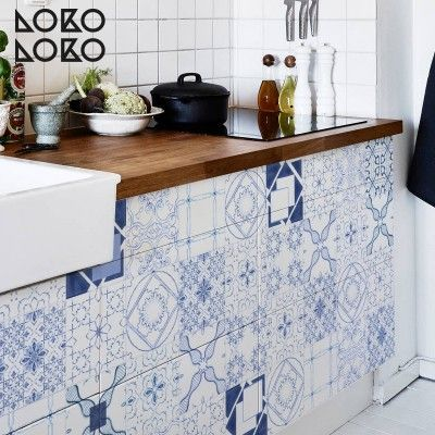 Vinilo para forrar muebles de cocina con diseño de azulejos ...