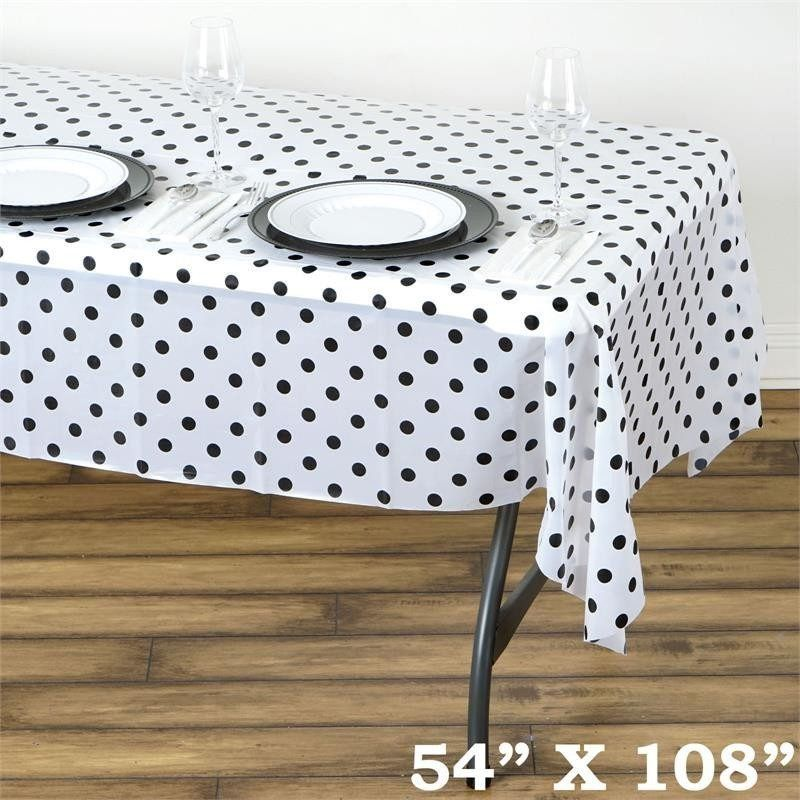 Perky Polka Dots 54 X 108 Disposable Plastic Table Cover White Black