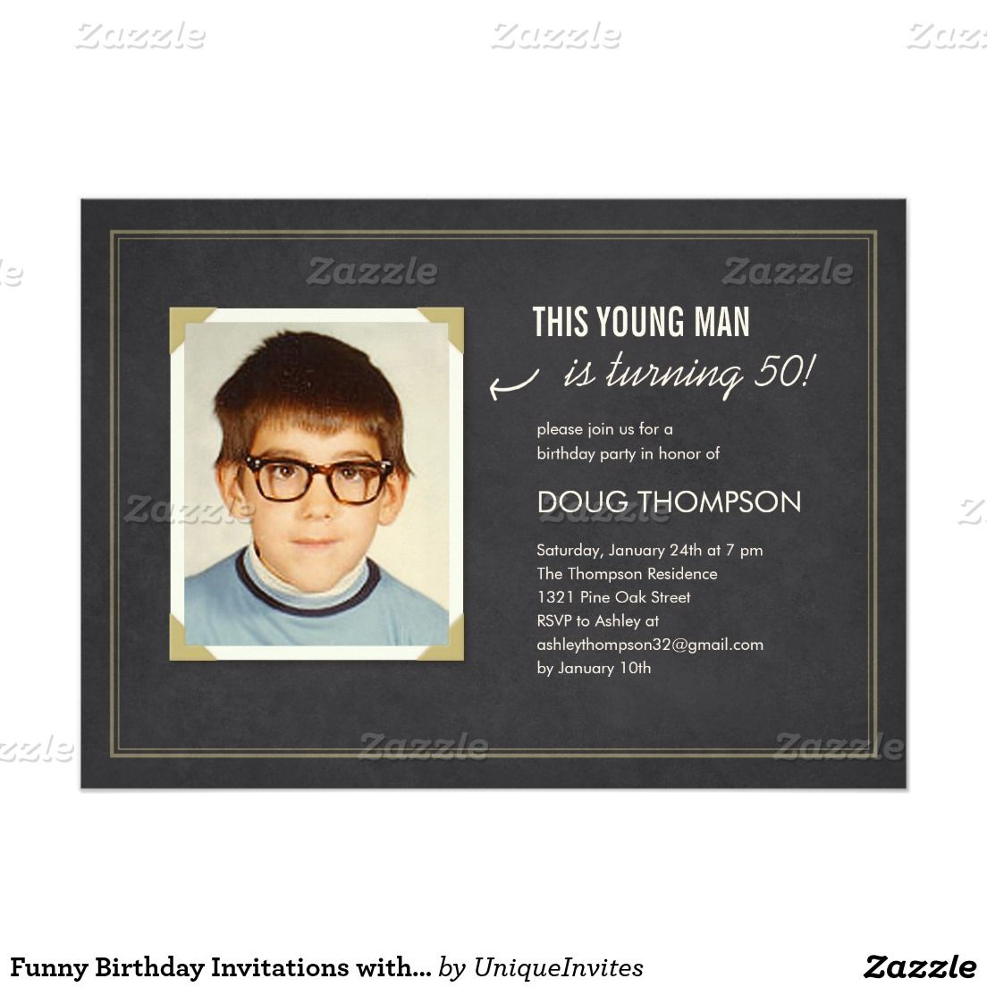 Funny Birthday Invitations with an Old Photo | Funny birthday ...