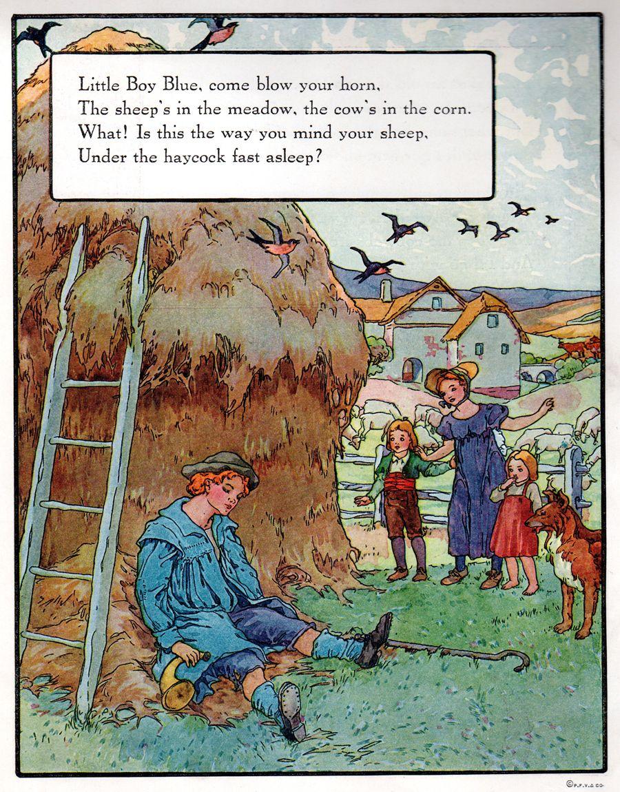"""""""Little Blue Boy"""", aus: """"Mother Goose"""", Volland Popular Edition (1921), Illustration von Frederick Richardson (1862 - 1937)"""