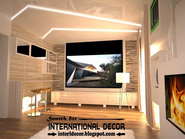 Modern pop false ceiling designs ideas 2015 led lighting Led lighting ideas for living room