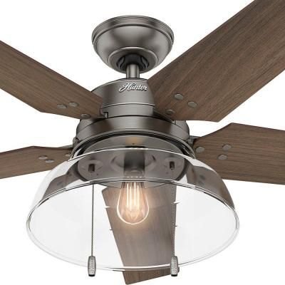 hunter lindbeck 52 in led outdoor brushed slate ceiling fan 59209 the home furniture