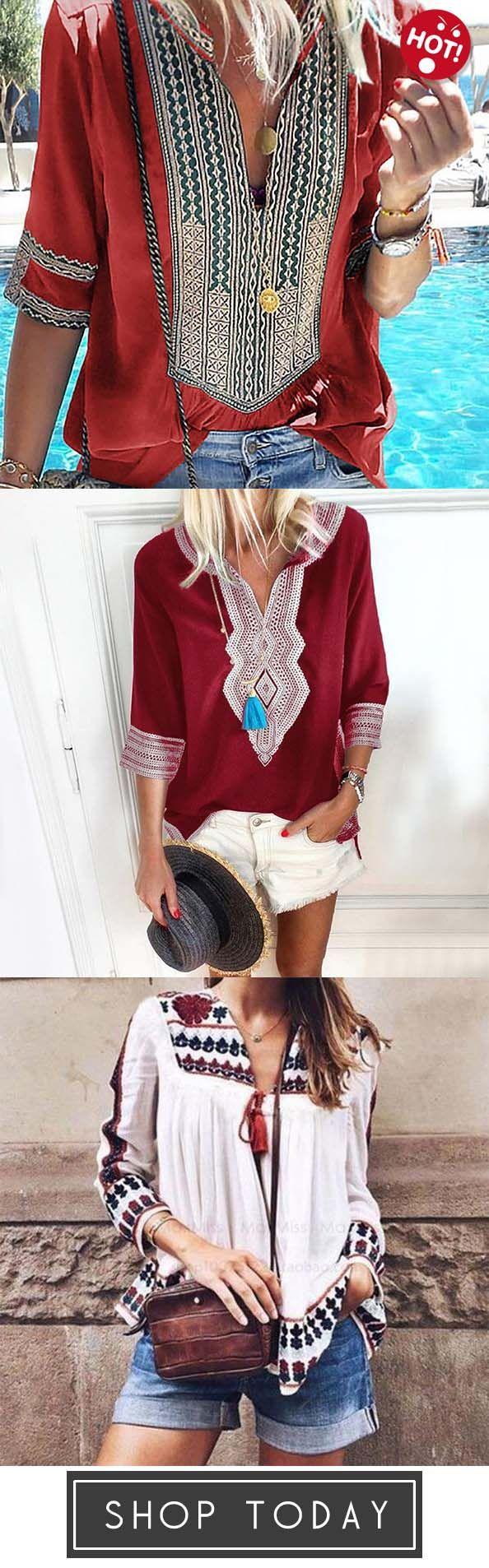 Photo of Casual Printed Blouses & Shirt,Bohemian Loose Print long-sle…