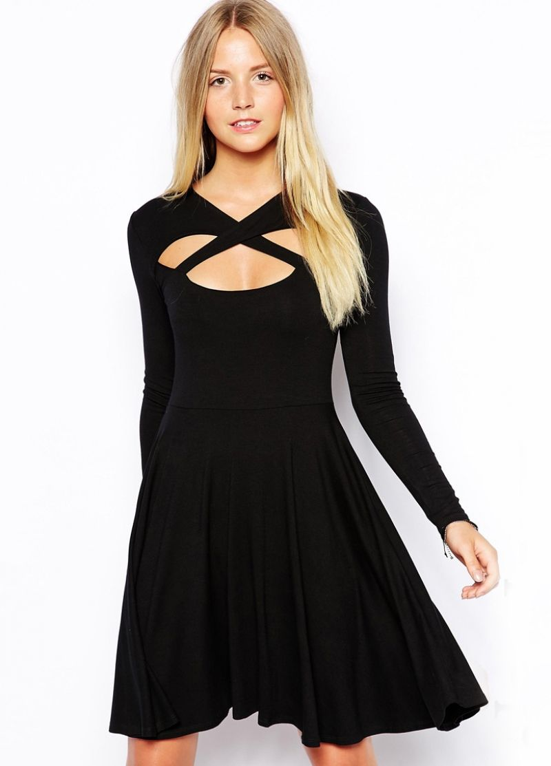 6a315ddd4fc85 Buy Black Long Sleeve Cross Front Skater Dress from abaday.com, FREE ...