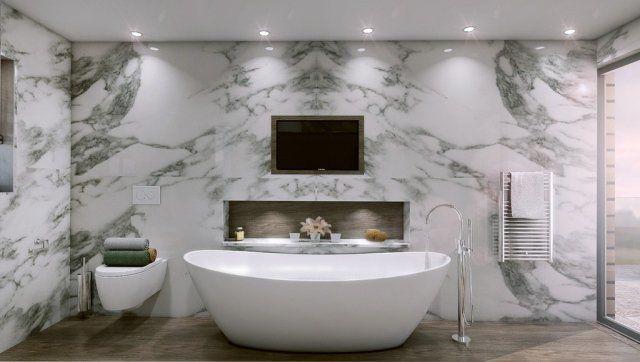 salle-bains-moderne-carrelage-mural-aspect-marbre-baignoire-îlot - salle de bain carrelee