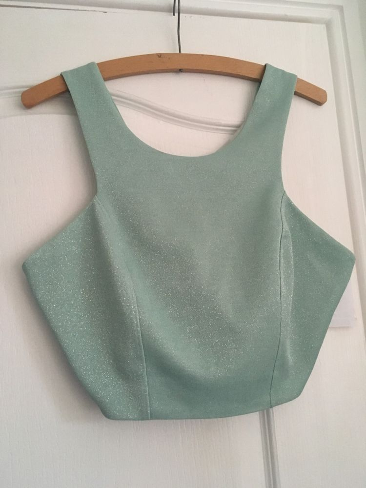 1fef981cbd58a1 Topshop Womens Bralet Crop Sleeveless Party Top Turquoise Glitter UK 14 NEW  20  fashion