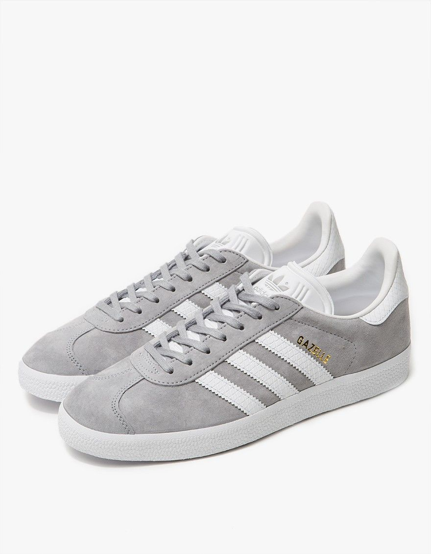 quality design d1a10 9e196 Classic Gazelle sneaker from Adidas. Grey nubuck upper with textured White  leather accents. Lace-up front with flat cotton laces.