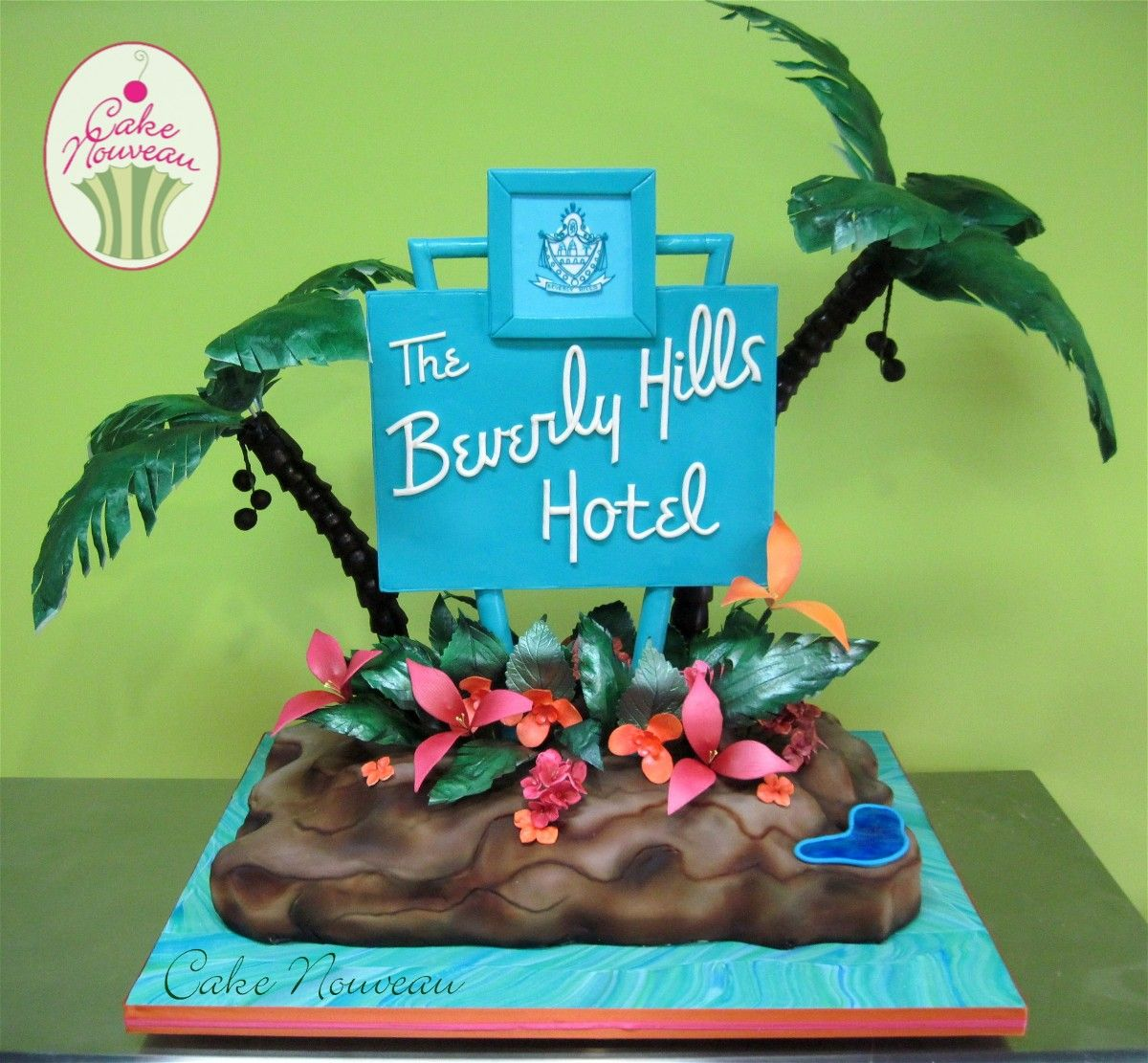 Colorful Cake With Replica Of Sign Beverly