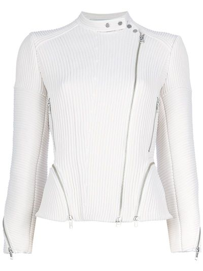 White ribbed biker jacket from 3.1 Phillip Lim featuring a double press stud fastening collar, an asymmetric front zip fastening, two side zip fastening pockets, curved zip detailing at the side of the hem, long sleeves with zip cuffs and two zipped vents at the rear. #farfetch bemine #smets