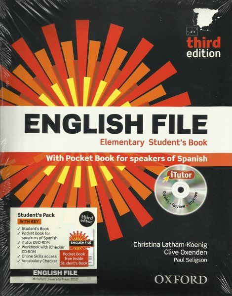 1º INGLÉS. English File Elementary. Sign.T 811.111 ID LAT. http://encore.fama.us.es/iii/encore/record/C__Rb2613545?lang=spi