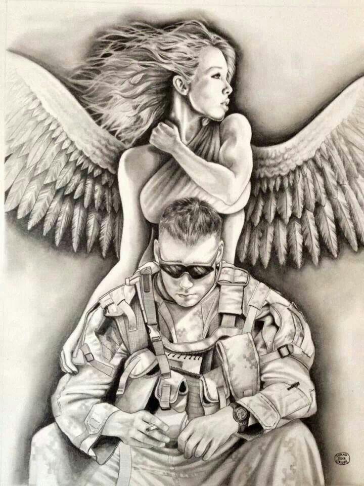 Guardian Angel Military Sleeve Tattoo Half Sleeve Tattoo