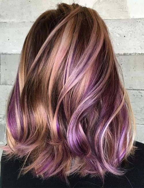 Purple Thin Blonde Highlight In 2019 Latest Hairstyle Pinterest