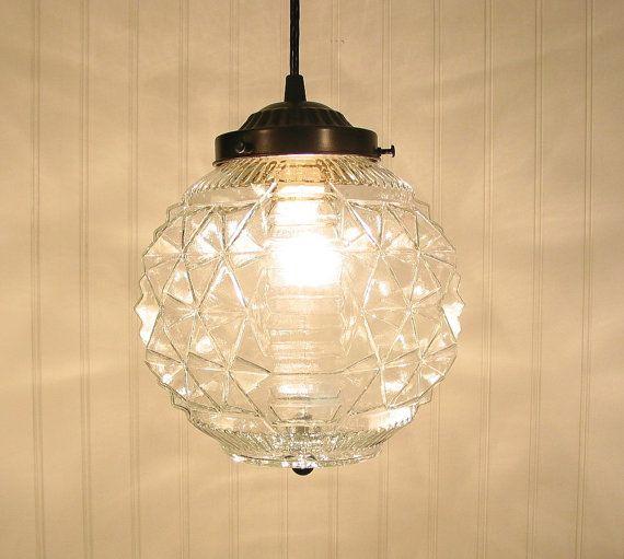 Stockton Springs. LARGE Vintage Diamond Cut Globe PENDANT