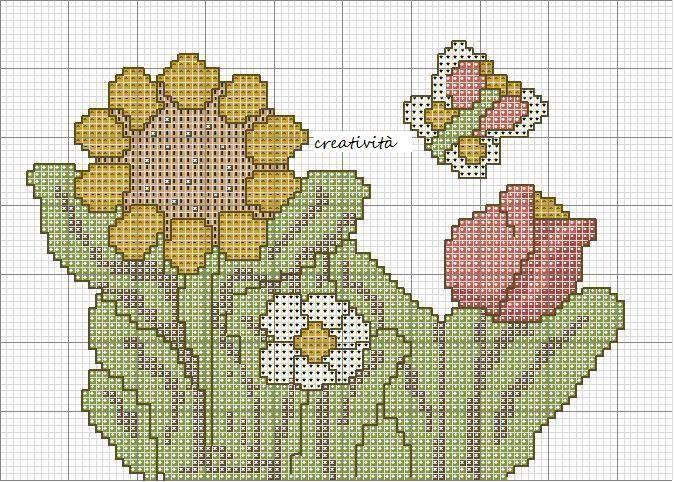 Thun fiori farfalle punto croce punto croce pinterest for Farfalle a punto croce