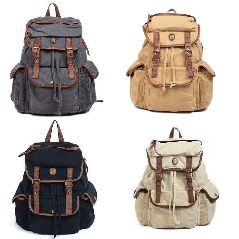 Vintage Women Casual Canvas Leather Backpack Rucksack Bookbag