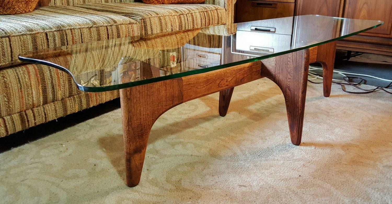 adrian pearsall mid century glass top walnut base stingray coffee