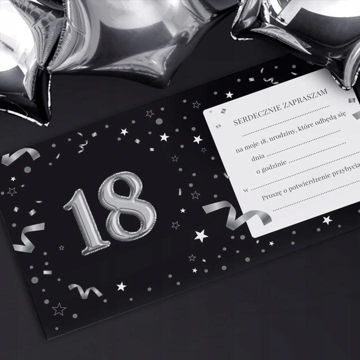 Zaproszenia Na 18 Urodziny Czarno Srebrne 10szt Invitations Notebook
