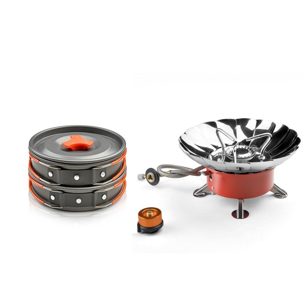 Windproof Camping Stove and Cooking Equipment 8 Piece Cookset ...