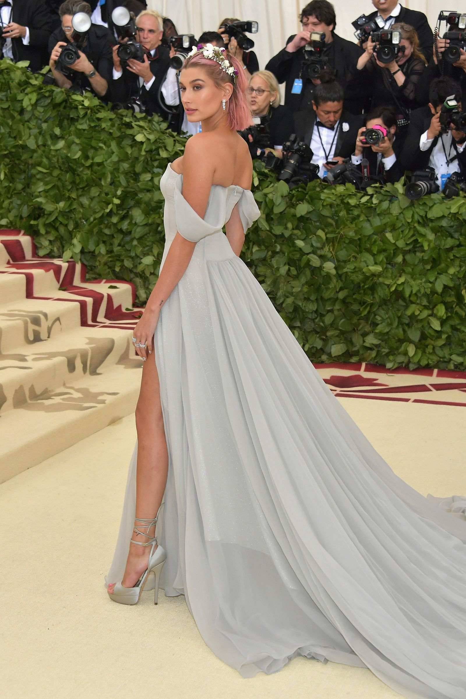 00a99536cee Hailey Baldwin in Tommy Hilfiger All the Best Dresses From the 2018 Met Gala  - HarpersBAZAAR.com