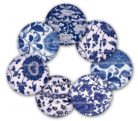 Cerchi blu e bianco cinese Chinois asiatico carta digitale Scarica 1 un pollice stampabile turni Decoupage stampabile DIY Clipart 671