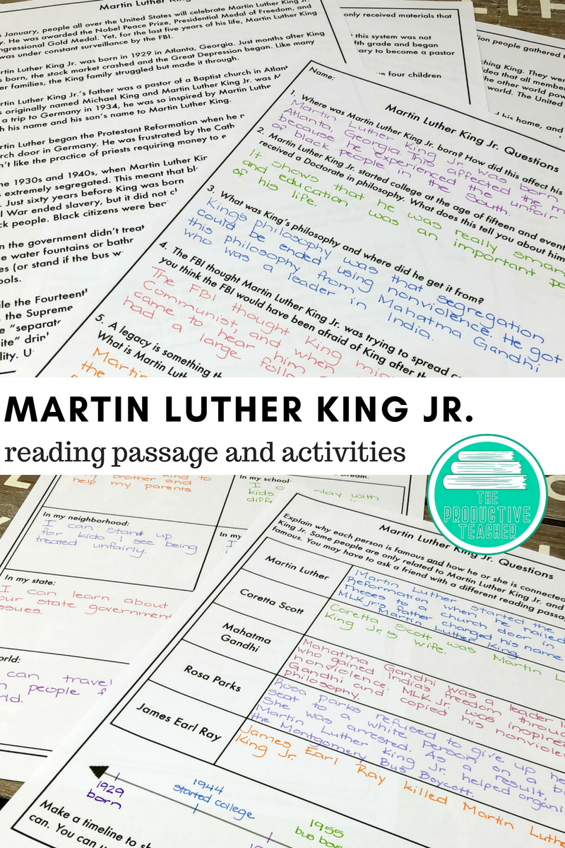 Are You Looking For Activities To Teach Your Students About Martin Luther King Jr This Reading Passages Martin Luther King Jr Differentiated Reading Passages [ 1200 x 800 Pixel ]