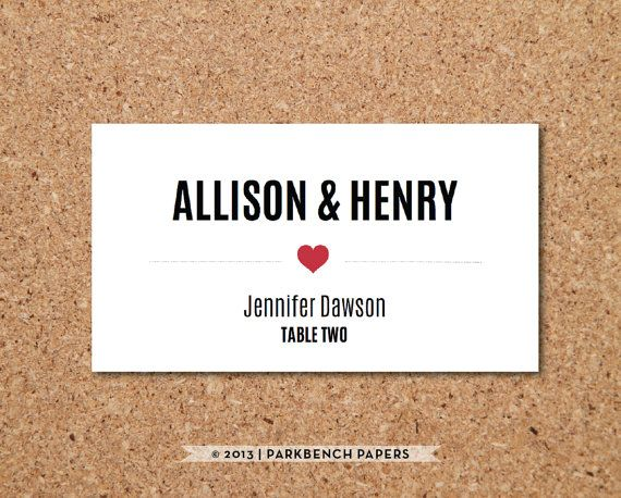Wedding Place Card template - Instant Download, DIY Microsoft Word - card word template