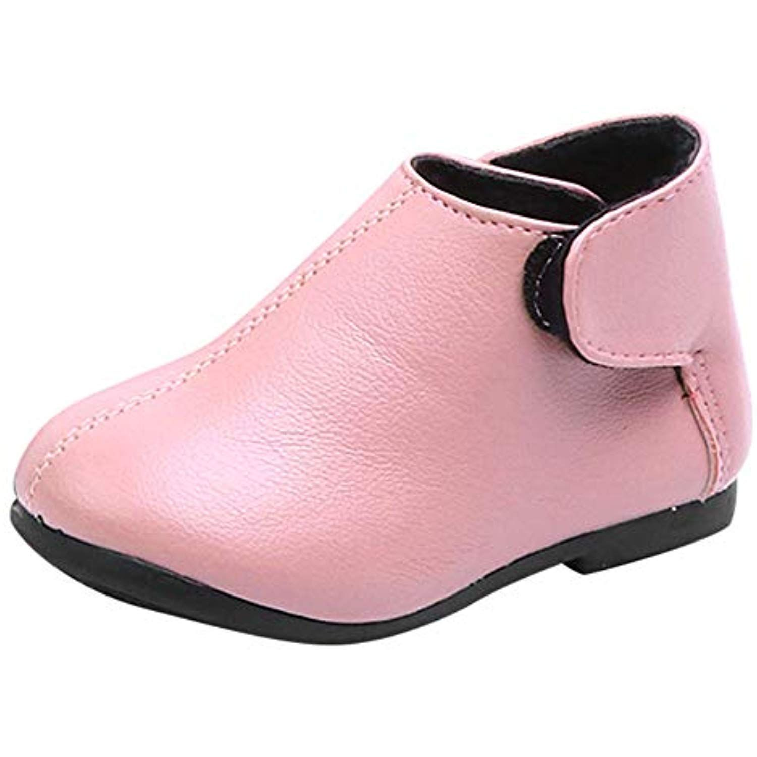 Baby Kids Girls Pink Leather Rubber Soft Sloe Easy Wear Outdoor Sneaker Boys Black Handsome Martin Shoes