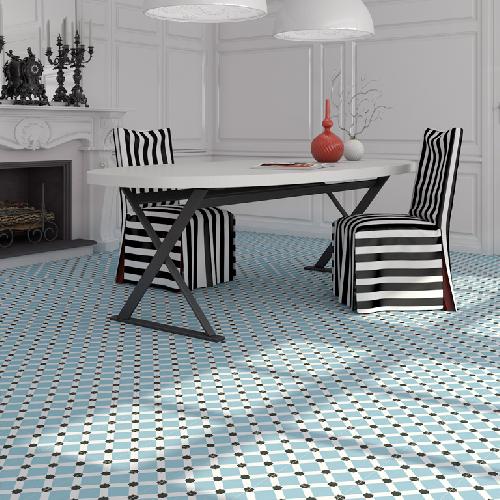Carrelage Style Ciment Blanc Bleu Geometrique 20x20 Cm Palau 1m