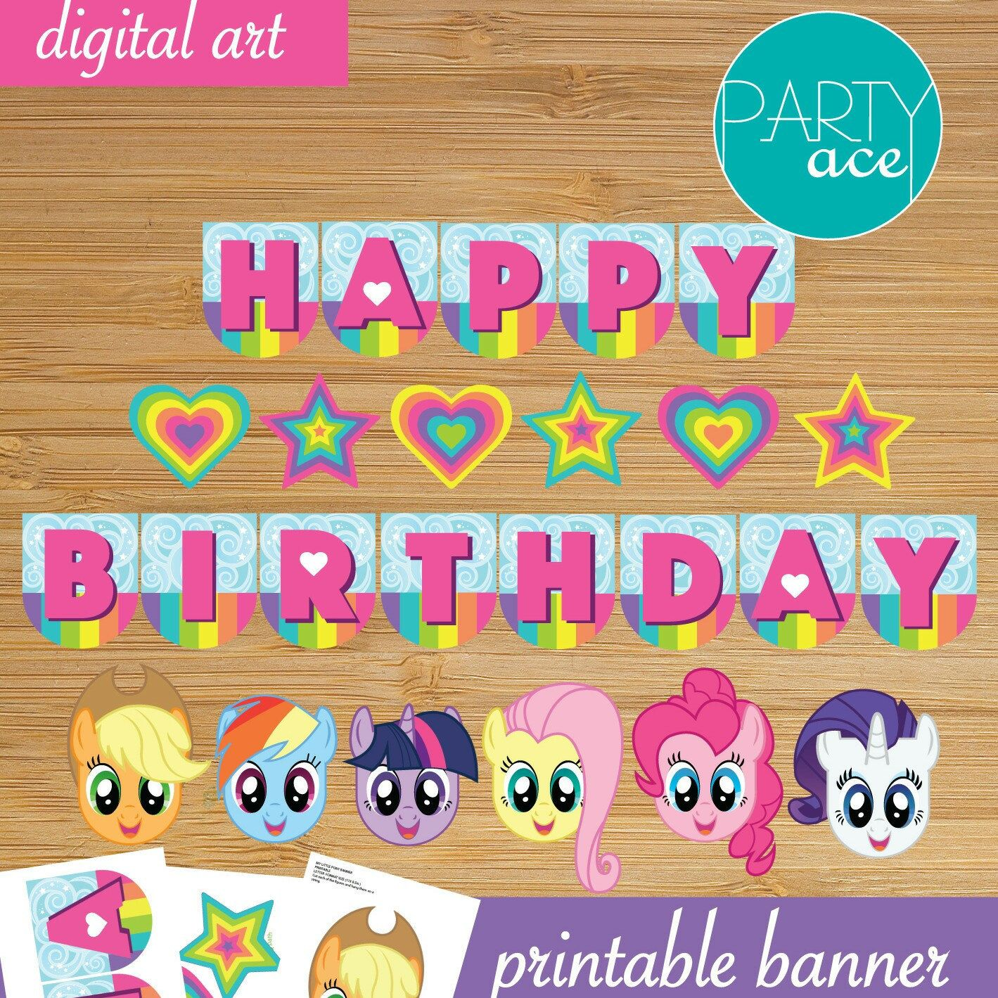 My Little Pony Printable Happy Birthday Banner