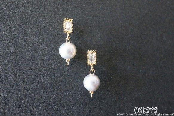 【16KGP】Rectangle CZ Stud Earrings,AAA Silver Gray Pearl 16Gold Plated(真鍮に16K・Go...|ハンドメイド、手作り、手仕事品の通販・販売・購入ならCreema。