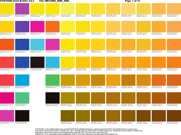 Preview Of One Chart Of The Free Pdf Doc Pantone Color Chart