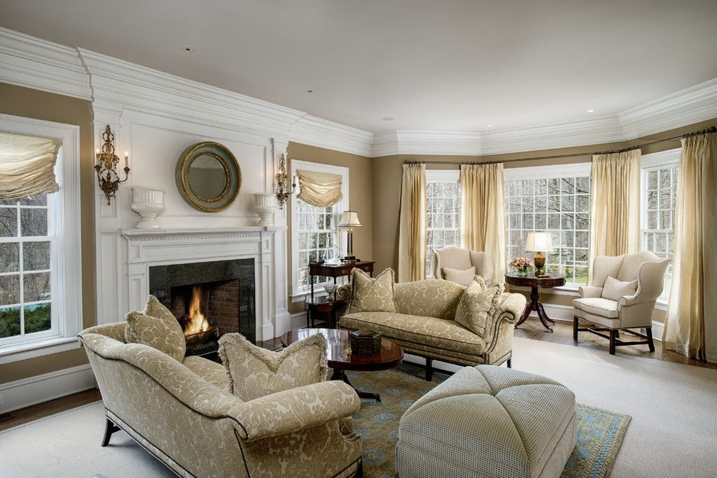 Delicieux Traditional Living Room With Carpet, Hardwood Floors, Stone Fireplace, Ethan  Allen Hepburn Sofa, Crown Molding