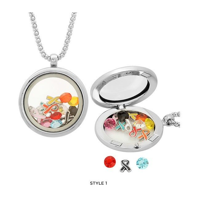 Breast Cancer Ribbon Charm Locket - Assorted Colors