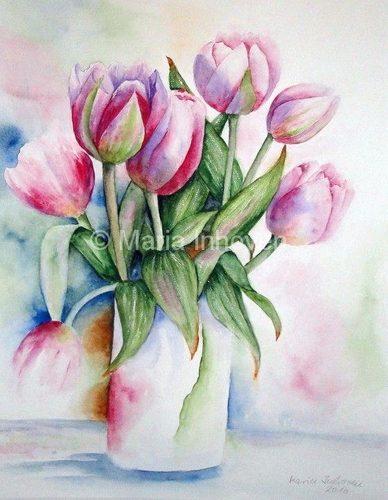 Tulpen In Vase Blumen Aquarell Blumen Malen Aquarell Blumen