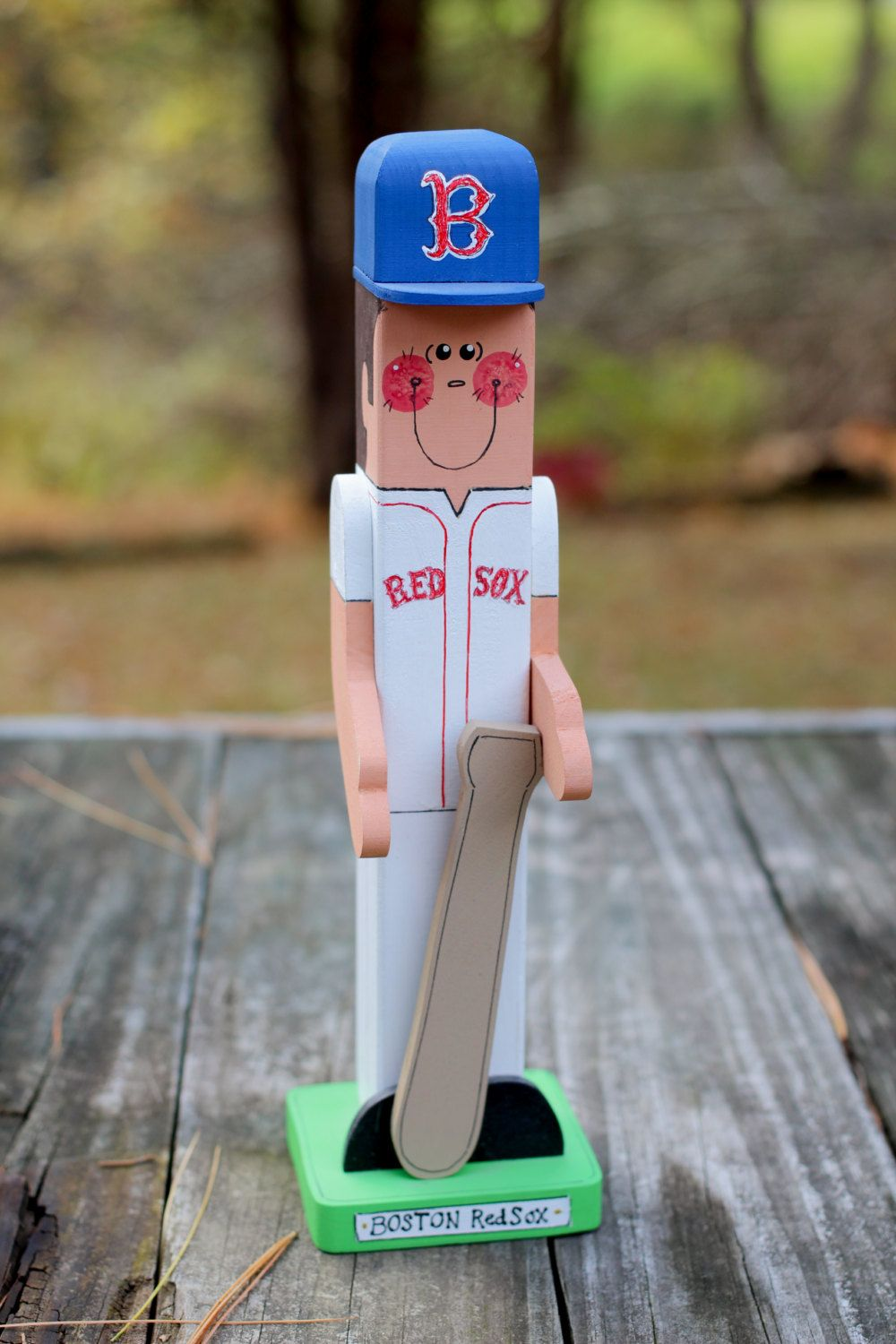 """Boston Red Sox 9"""" - Wooden Baseball Player - Handmade Wood Figure - Gift for Red Sox Fan by SawAndSewCrafts on Etsy"""
